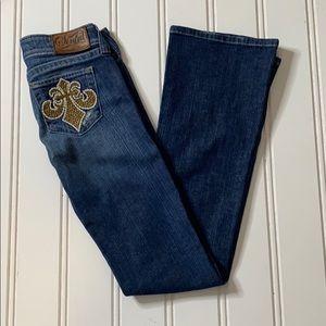 ❤️ Sinful Bootcut Jeans - cross on pocket SZ 26 ❤️